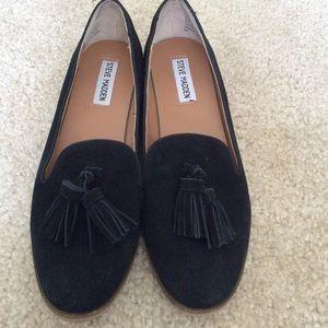 Steve Madden black suede tassel loafers 8.5 EUC